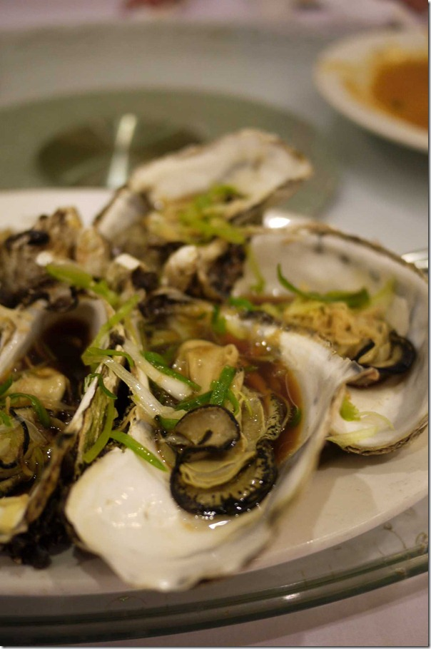 Steamed oysters with ginger, shallots and special soy sauce