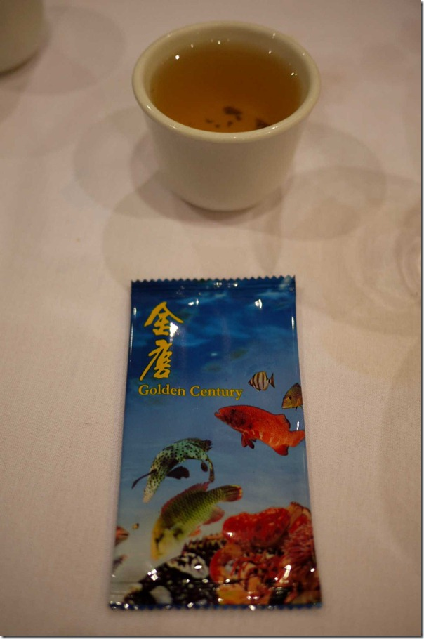 Chinese Jasmin tea and disposable hand towel