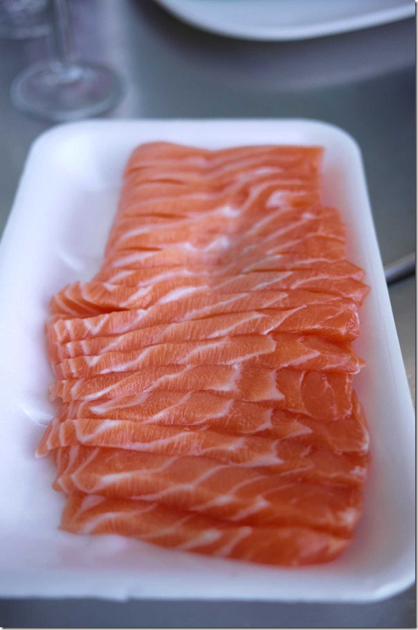 Salmon sashimi at Sydney Fish Market $43/kg