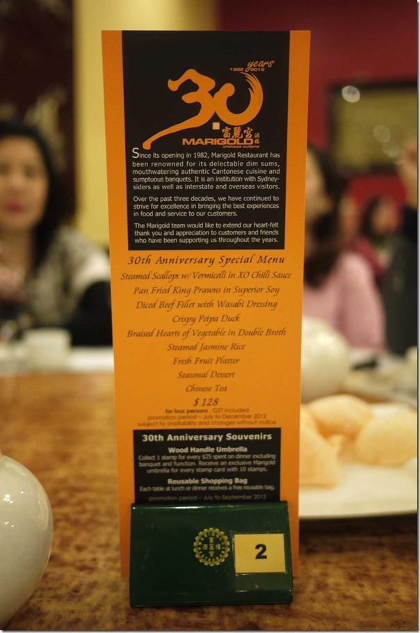 Marigold's 30th Anniversary Menu