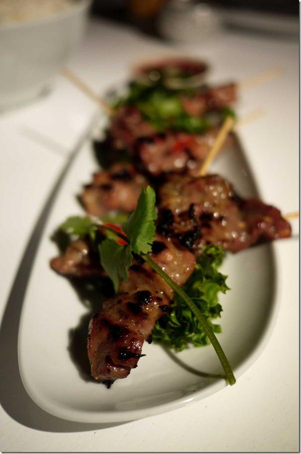 Mhu Bhing: Grilled pork skewers $2.50 each
