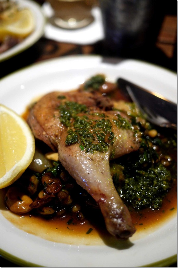 Oven-roasted spatchcock with olives, borlotti beans, spinach and salsa verde $18