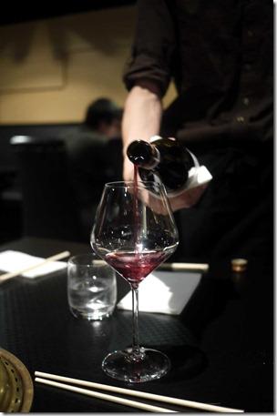 Wine service at Nishiki Wagyu Yakiniku