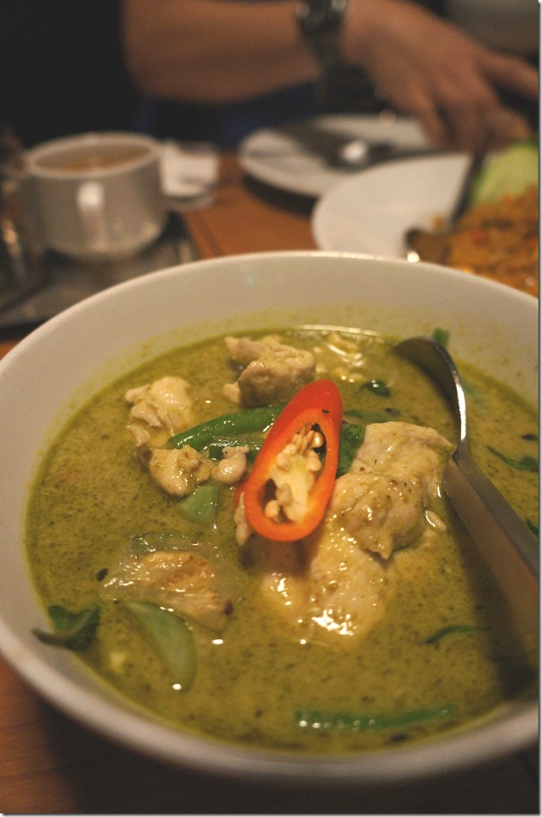 Thai chicken green curry $12.90