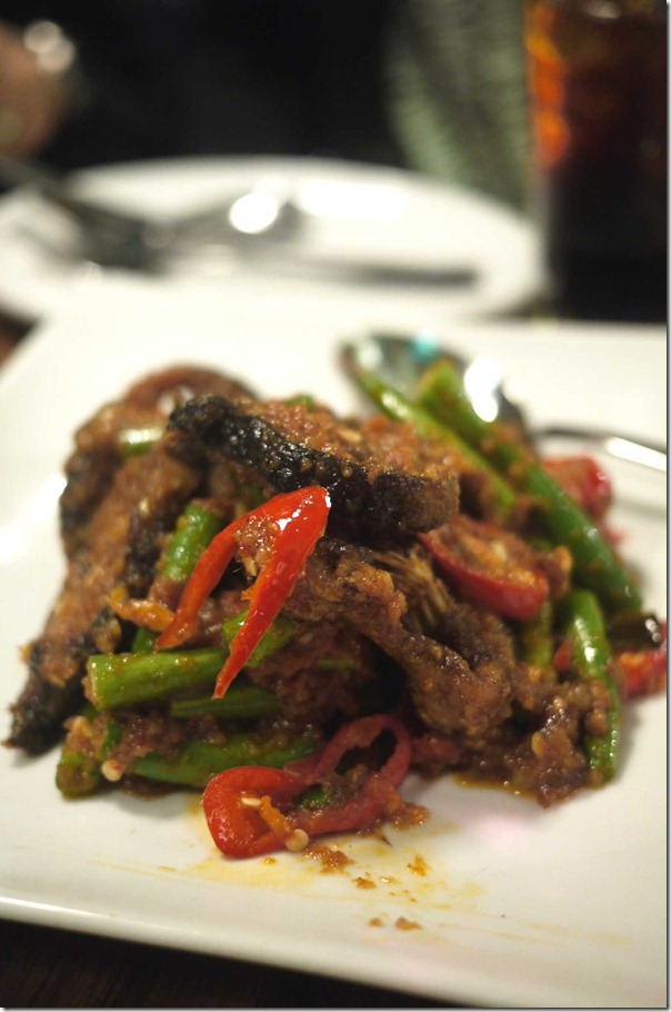 Stir-fried cat fish with beans and red chilli paste $12.90
