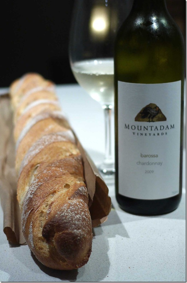French baguette and a 2009 Mountadam chardonnay