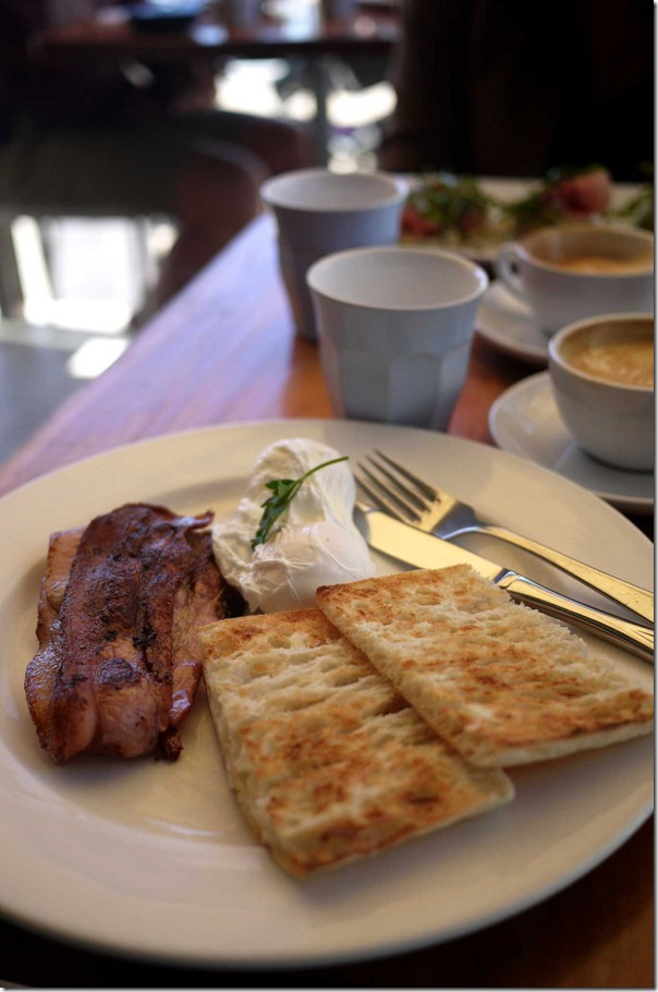 Poached eggs, bacon and Turkish bread toast $15