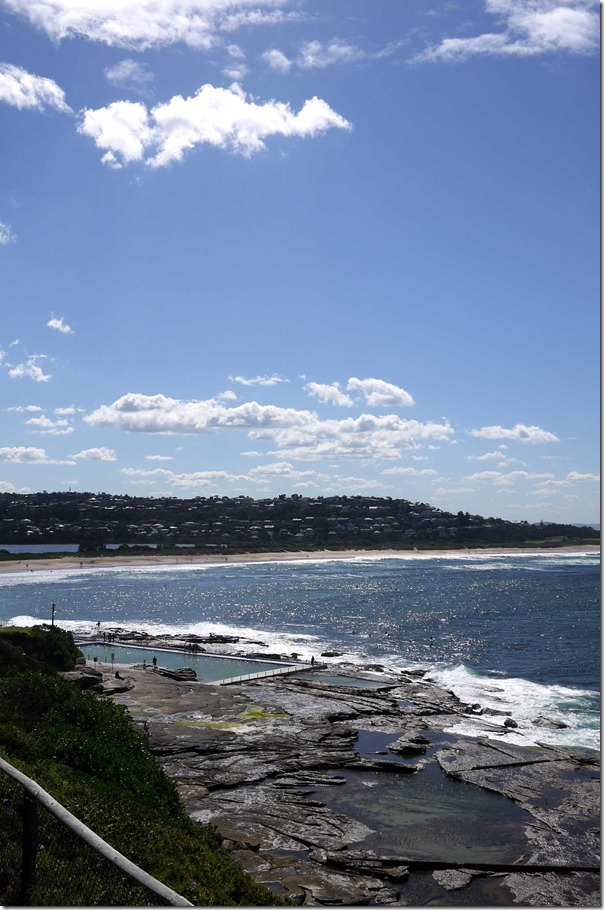 View of the rock pool and Dee Why beach from the cliff top