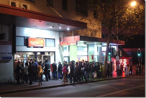 Queue outside Mamak restaurant in Goulburn street, Haymarket