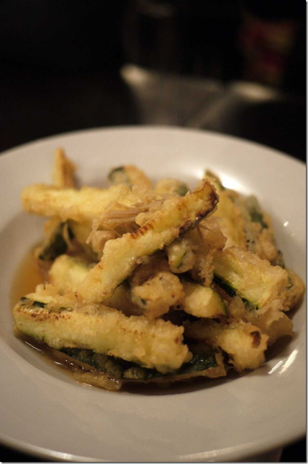 Tempura zucchini topped with young ginger, chilli and paprika $10.50
