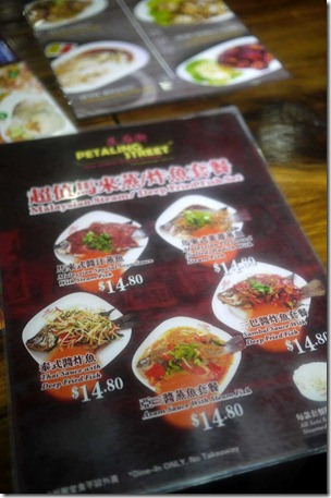 Menu at Petaling Street, Malaysian Hawker Food