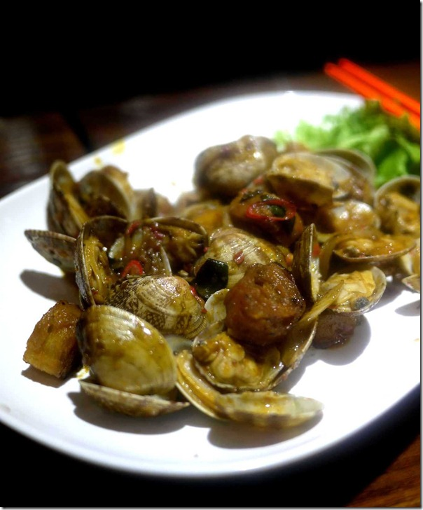 """Kam heong lala"" or Clams with chilli, spices and curry leaves $14.80"