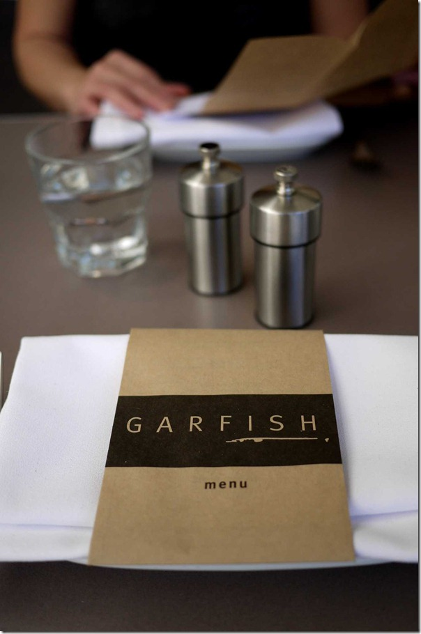 Table setting at Garfish, Kirribilli