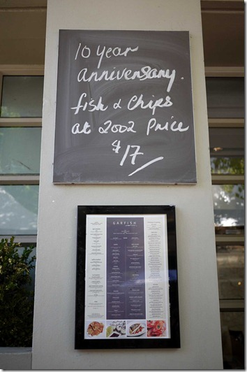 Garfish's fish and chips promotion for October 2012