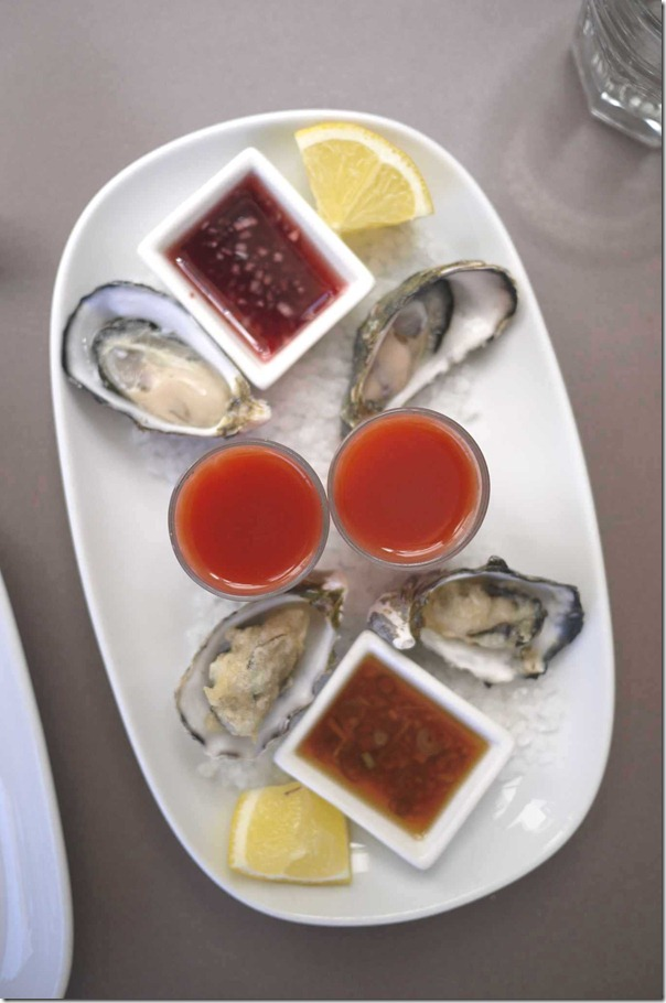 Oyster plate - fresh with mignonette dressing, Bloody Mary shots and crisp fried with soy, mirin ginger $20