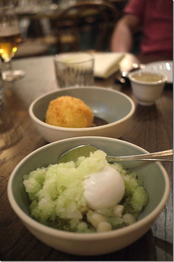 Green apple ice, osmanthus jelly, water chestnuts and coconut sorbet $14
