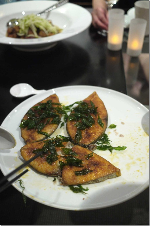 Pan-seared mackerel cutlets with crispy curry leaves