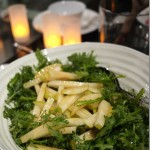 Salad of chrysanthemum leaves, nashi pear, blue swimmer crab & ginger