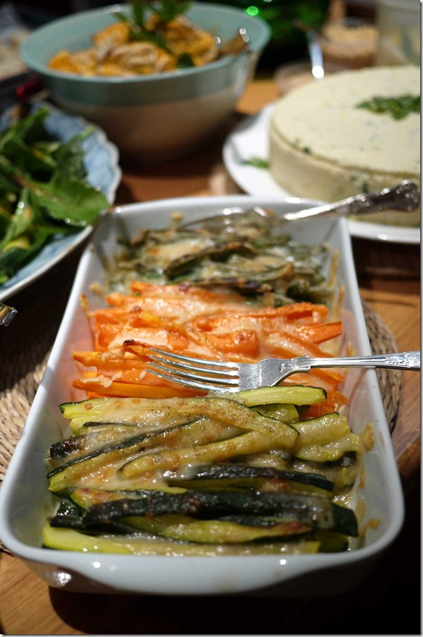 Baked zucchini, carrots and French beans