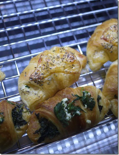 Ham, cheese and bechamel croissant & spinach and feta croissant