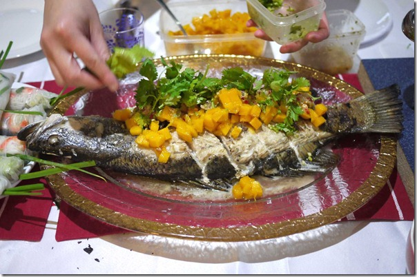 Grilled whole barramundi with mango salsa