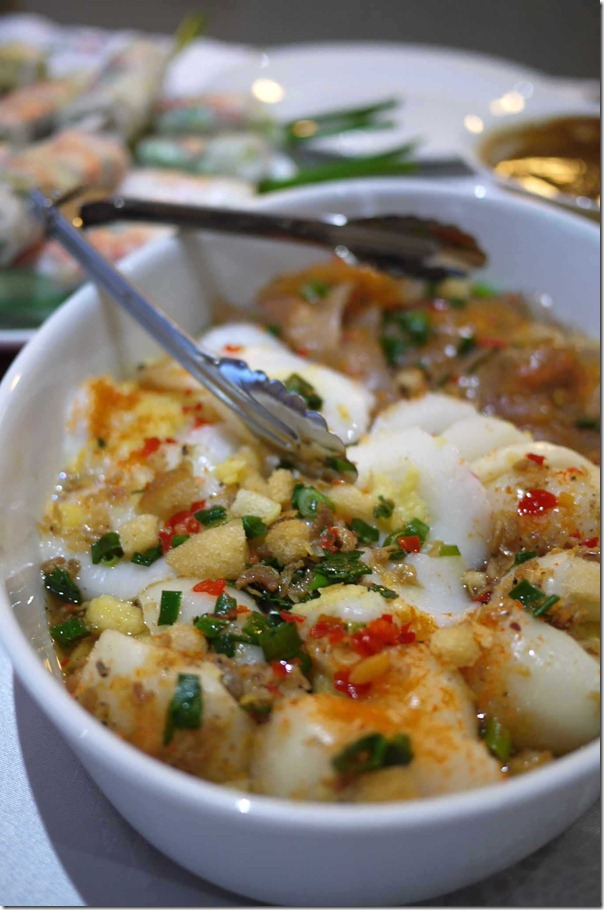 Banh beo Vietnamese rice cakes with shredded prawns