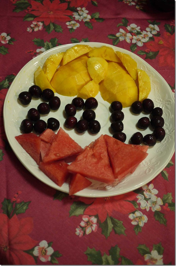 Fruit platter - mango, watermelon and cherries