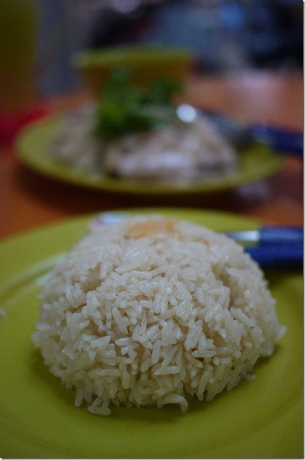Hainanese chicken rice $S0.70 cents or $A0.30 cents per bowl