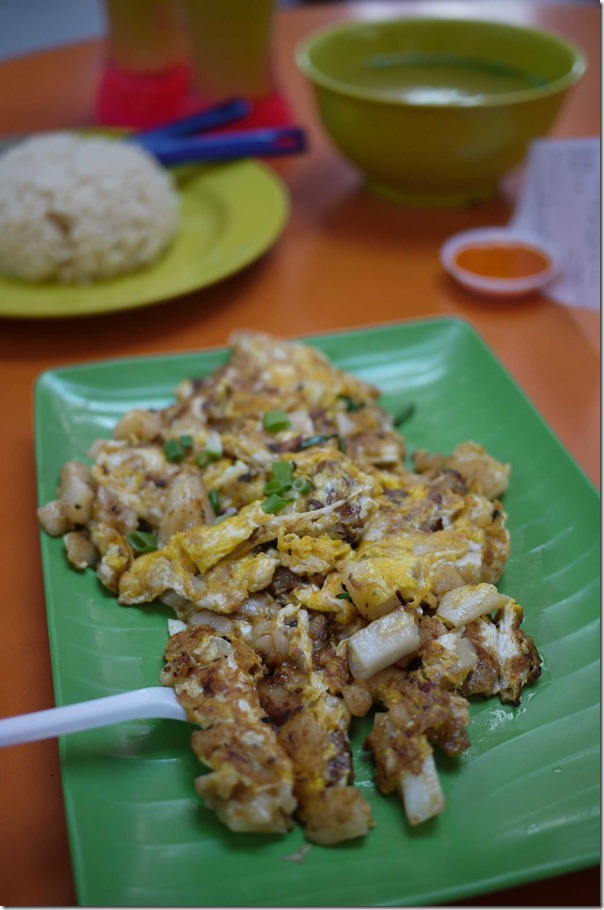 Chai tow kway or stir fried carrot cake in egg omelette S$3 or A$2.50