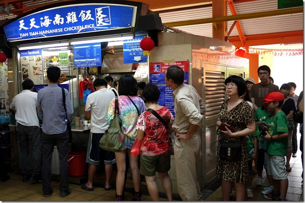 Daily queue at Tian Tian Hainanese Chicken Rice, Maxwell Food Centre