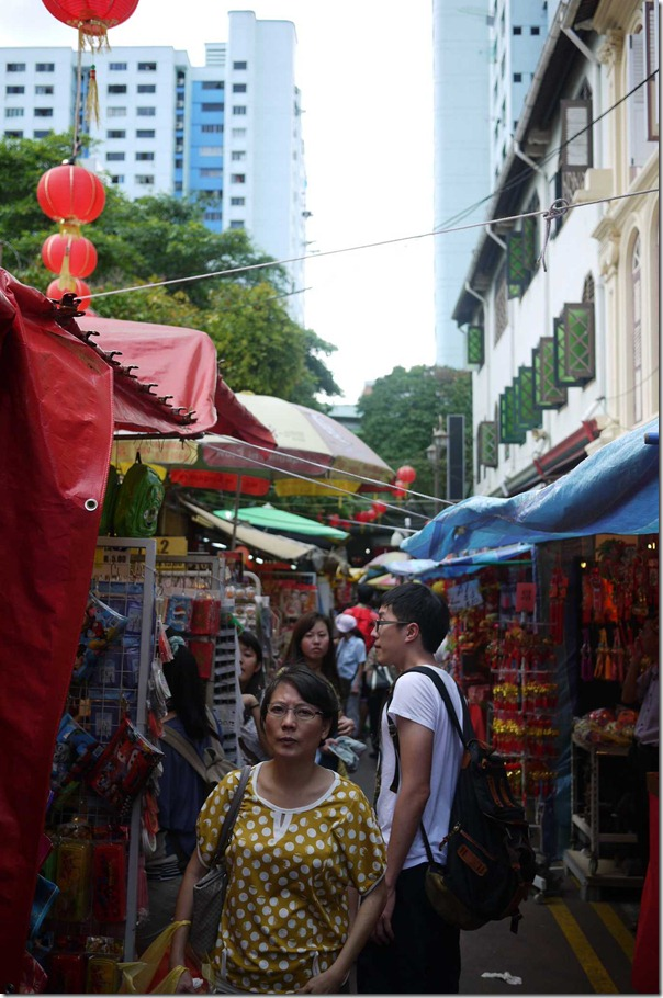 Street hawkers along a lane way in Chinatown