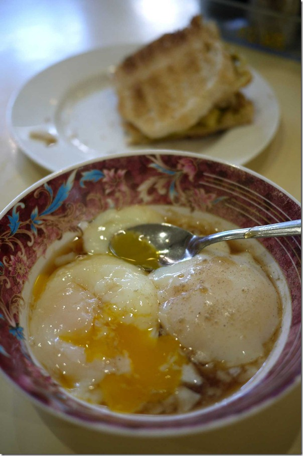 Soft boiled eggs with gooey egg yolk