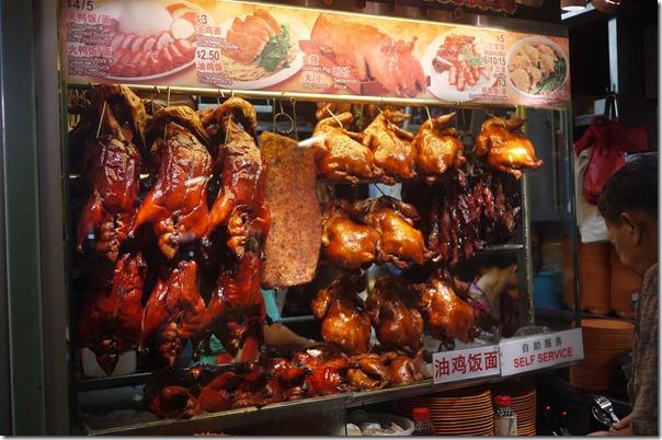 Chinese roast ducks, roast pork. soy sauce chickens and BBQ pork