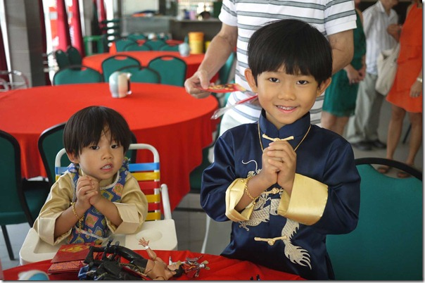 """Gong Xi Fa Chai, Sin Nien Kwai Lerk"" - my nephews Tristan, 3 and JD 5 wishing us happy new year!"