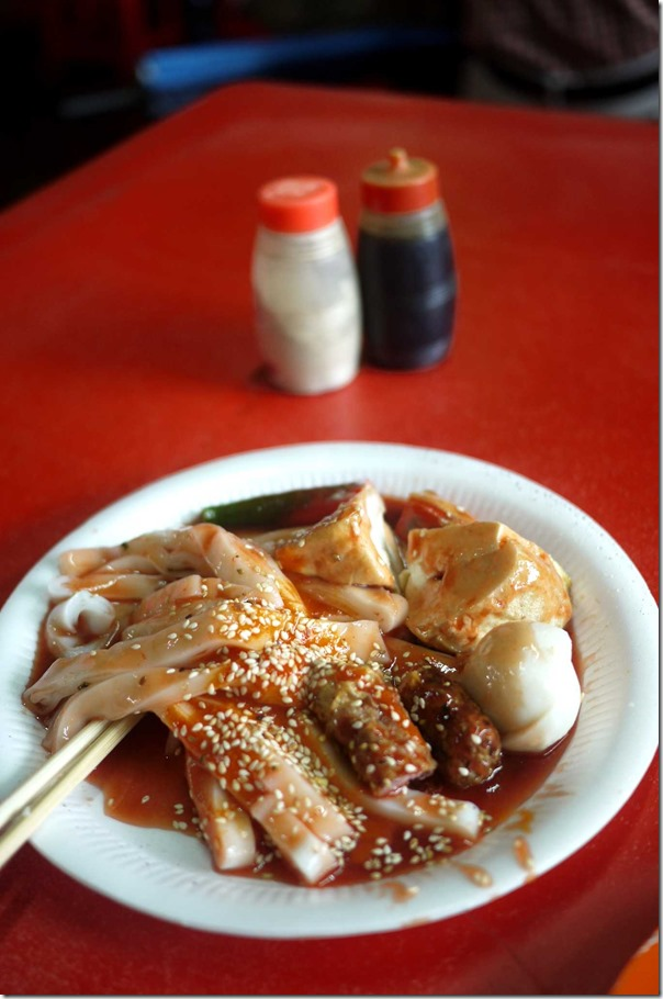 Chee cheong fun or rice noodles with fish cakes RM0.50 cents or A$0.15 cents per piece