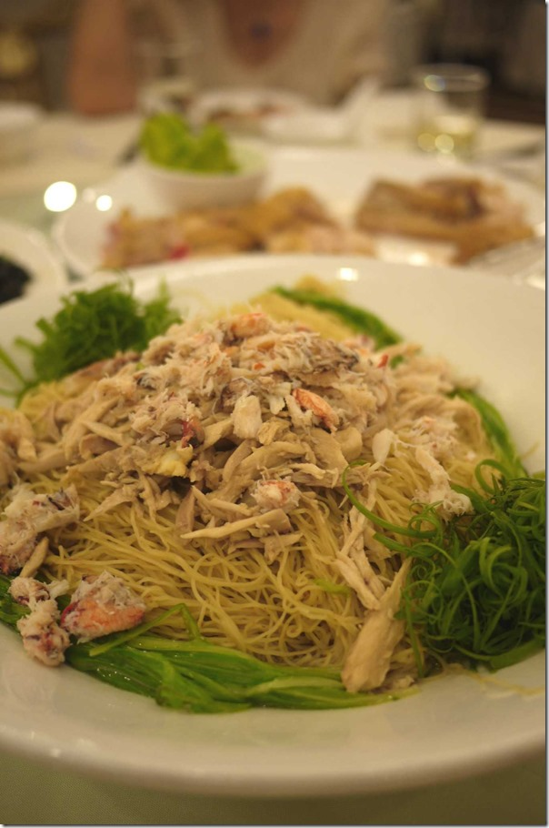 Sau meen or longevity noodles with chicken and crab meat