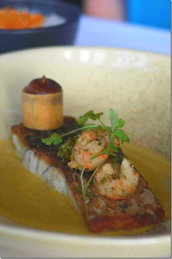 Cone Bay barramundi, white curry sauce, curry leaf prawns, condiments $47