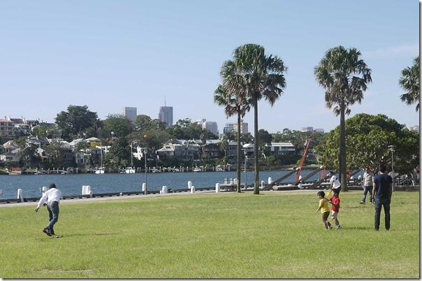 Playing cricket on Pirrama park at Jones Bay Wharf