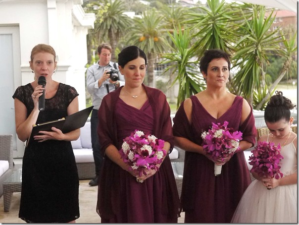 Civil celebrant Robyn Pattison with bridesmaids Sandra Wixted, Karen Cole and flower girl Mackenzie Cole