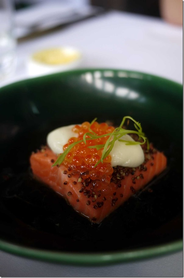 Petuna ocean trout, crisp quinoa, miso cream, potato & dashi broth, red elk & smoked trout roe $33