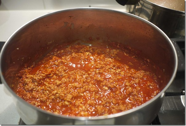 Meat sauce for A & W Coney Dog on the simmer