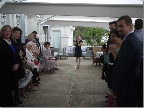 Civil celebrant Robyn Pattison begins the wedding ceremony