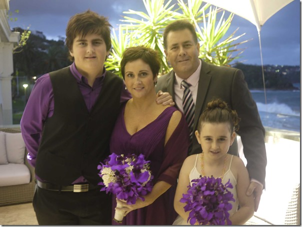 Page boy Lachlan and flower girl Mackenzie with their parents Craig and Karen Cole