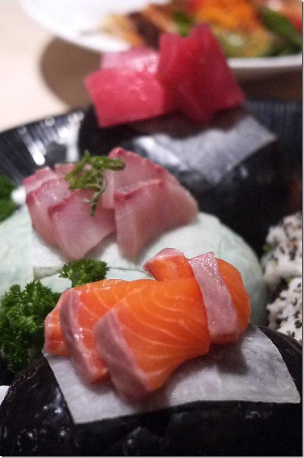 Salmon sashimi (Sushi and sashimi platter $34.90)