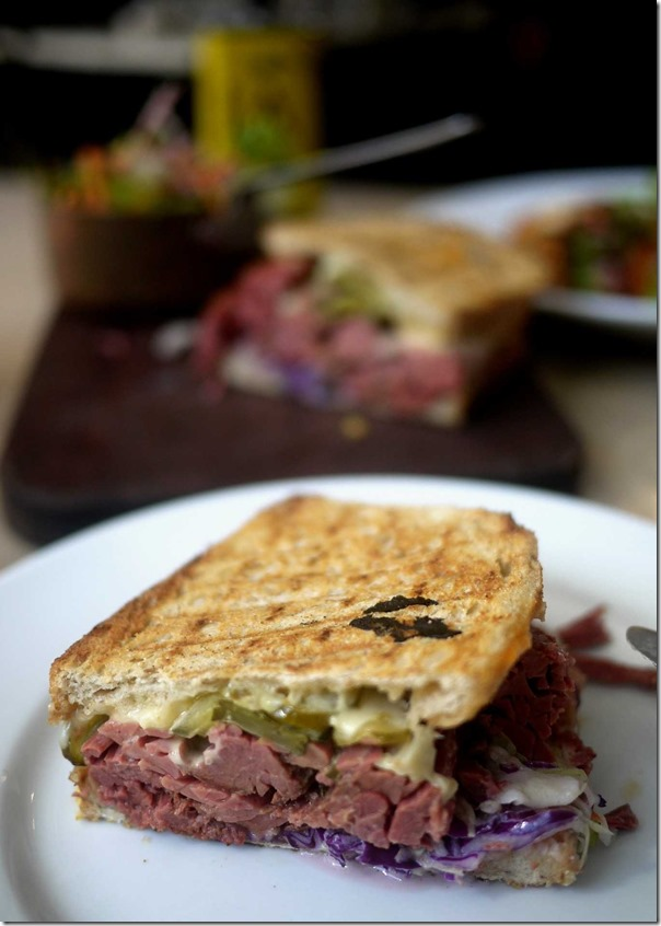 Reuben sourdough sandwich served with house salad $18