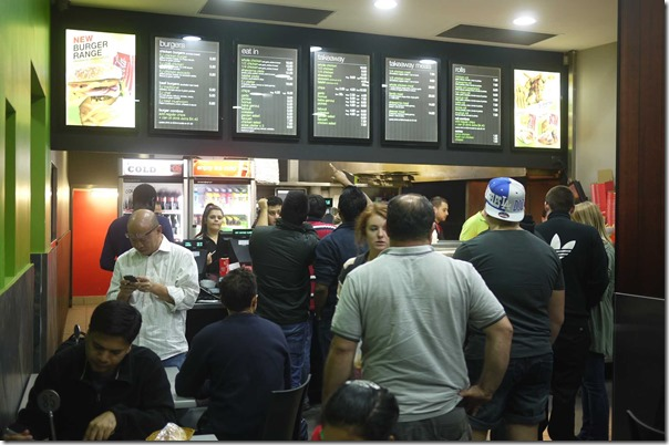 Customers queuing up at the order counter