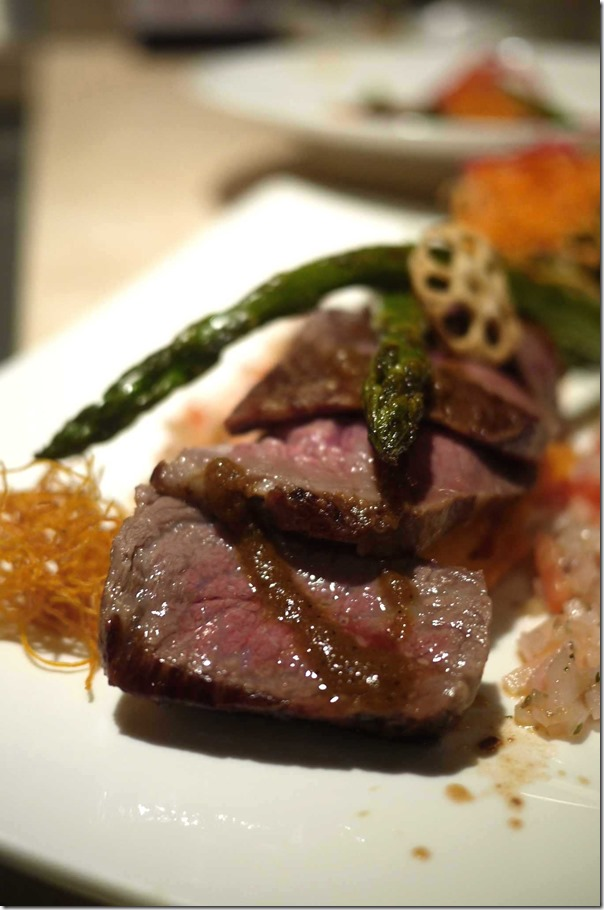 Wagyu beef steak (150gm) cube roll 9+ with mash sweet potato & sesame sauce $29.50