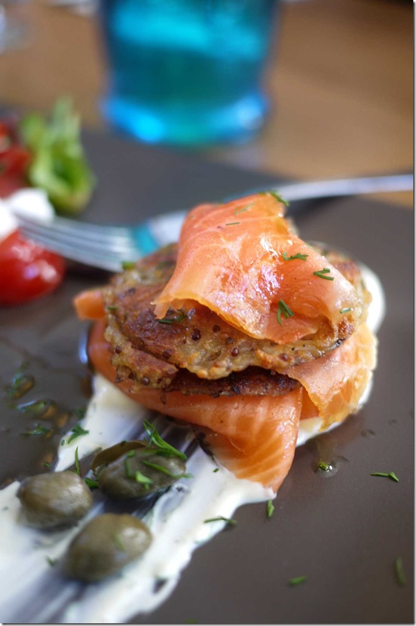 House Cured Smoked Salmon, potato rosti, sour cream and capers (Tasting portion), Regular price $16