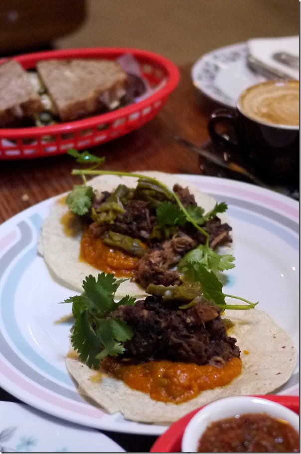 Pulled pork tacos with spiced pumpkin, pepitas & tender cactus $16