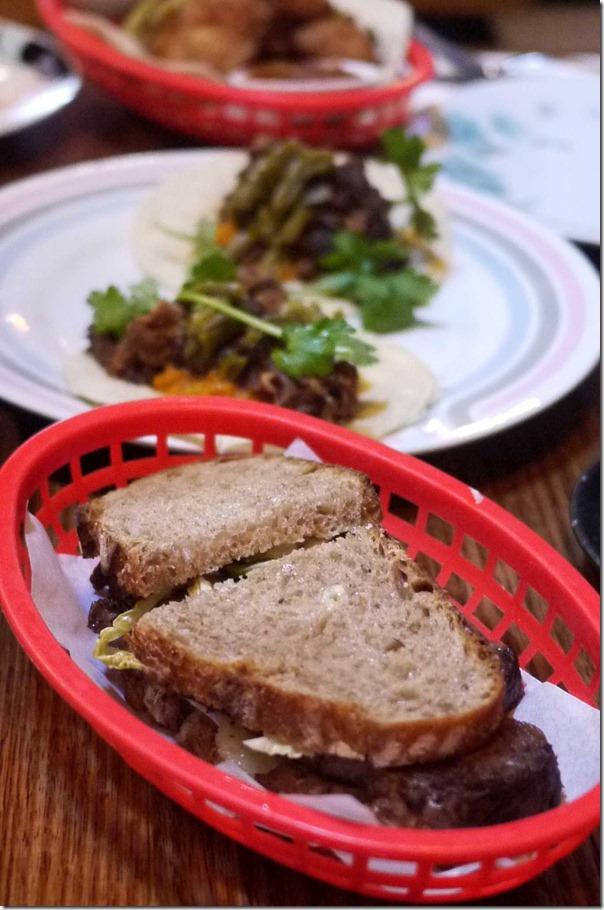 the NOT reuben wagyu salt brisket, pickled slaw, manchego & horseradish cream on rye $16